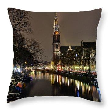 Amsterdam By Night - Prinsengracht Throw Pillow