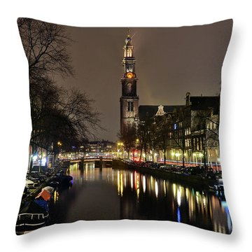 Amsterdam By Night - Prinsengracht Throw Pillow