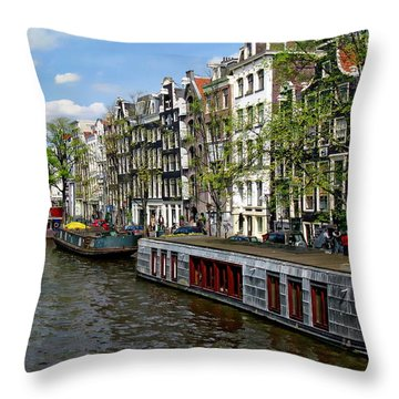 Amsterdam Canal Throw Pillow by Anthony Dezenzio