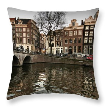Amsterdam Canal Bridge Throw Pillow