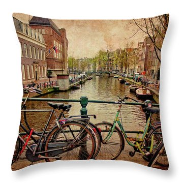 Amsterdam Canal Throw Pillow by Jill Smith