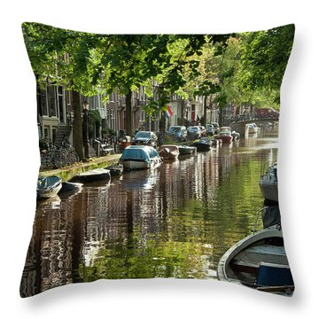 Amsterdam Canal Throw Pillow by Joan Carroll