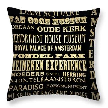 Amsterdam Famous Landmarks Throw Pillow