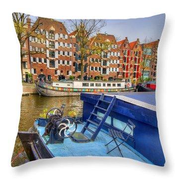 Amsterdam Houseboats Throw Pillow