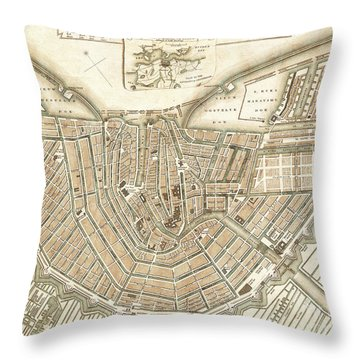 Amsterdam Netherlands City Map Throw Pillow