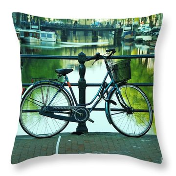 Throw Pillow featuring the photograph Amsterdam Scene by Allen Beatty