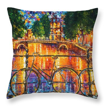 Amsterdam - The Bridge Of Bicycles  Throw Pillow by Leonid Afremov
