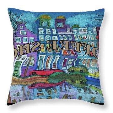 Amsterdam Through The Coffee Shop Window Throw Pillow