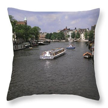 Amsterdam Water Scene Throw Pillow by Sally Weigand