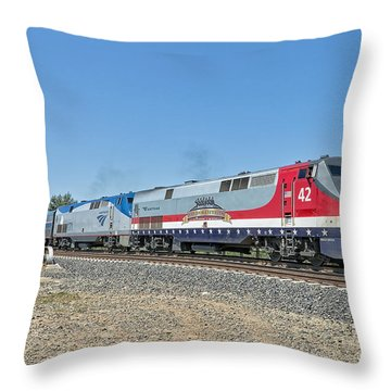 Throw Pillow featuring the photograph Amtrak 42  Veteran's Special by Jim Thompson