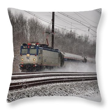 Amtrak In Snowstorm Throw Pillow by Steven Richman