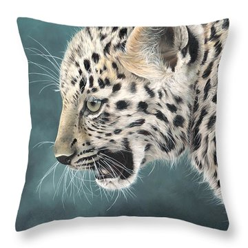 Amur Leopard Cub Throw Pillow by Clive Meredith