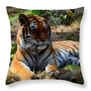 Throw Pillow featuring the mixed media Amur Tiger 1 by Angelina Vick