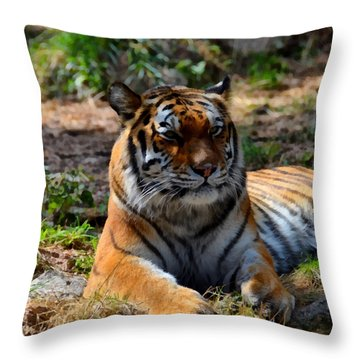 Throw Pillow featuring the mixed media Amur Tiger 10 by Angelina Vick