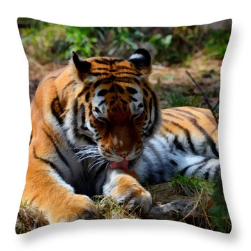 Throw Pillow featuring the mixed media Amur Tiger 2 by Angelina Vick