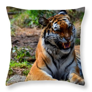Throw Pillow featuring the mixed media Amur Tiger 3 by Angelina Vick