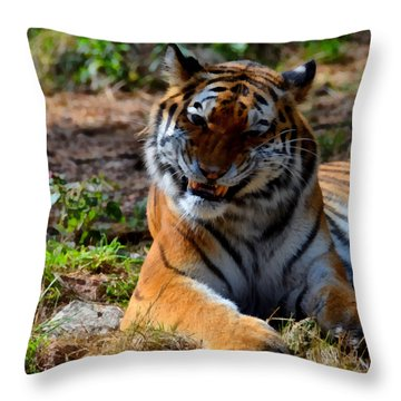 Throw Pillow featuring the mixed media Amur Tiger 4 by Angelina Vick