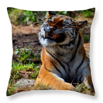 Throw Pillow featuring the mixed media Amur Tiger 6 by Angelina Vick