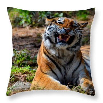 Throw Pillow featuring the mixed media Amur Tiger 7 by Angelina Vick