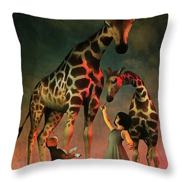Amy And Buddy With The Giraffes Throw Pillow