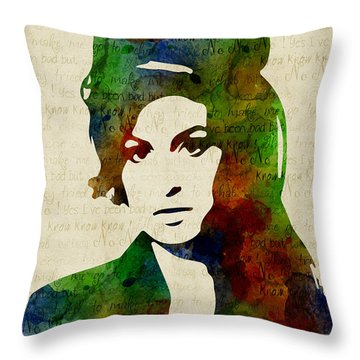 Amy Winehouse Watercolor Throw Pillow