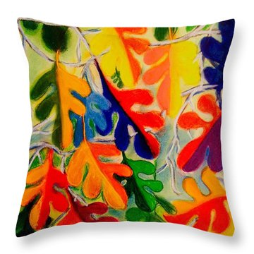 An Abstract Of Autumn Oak Leaves Throw Pillow