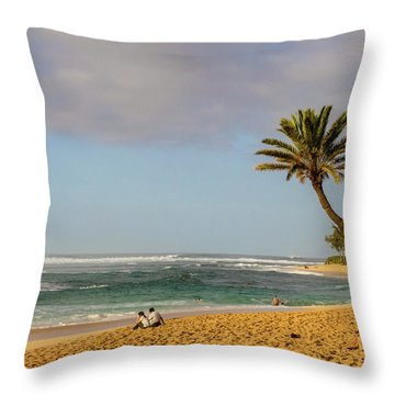 An Afternoon At Sunset Beach Throw Pillow