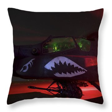 An Ah-64d Apache Longbow Throw Pillow by Terry Moore