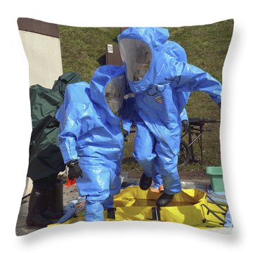 An Airman And A Soldier Jump Into A Tub Throw Pillow by Stocktrek Images