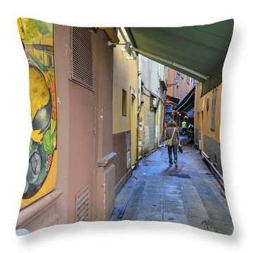 Throw Pillow featuring the photograph An Alley In Nice by Allen Sheffield