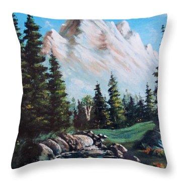 An Alpine Stream Throw Pillow by Megan Walsh