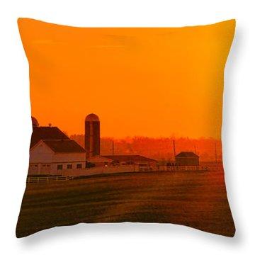 An Amish Sunset Throw Pillow