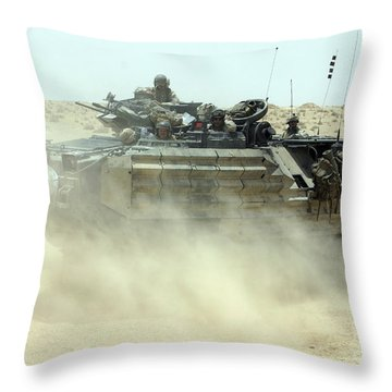 An Amphibious Assault Vehicle Kicks Throw Pillow by Stocktrek Images