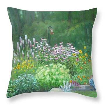 An Angel In My Garden Throw Pillow
