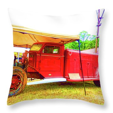 An Antique Fire Department Vehicle On Display 1 Throw Pillow by Lanjee Chee