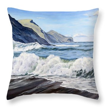 Throw Pillow featuring the painting An April Morning At Crackington Haven by Lawrence Dyer