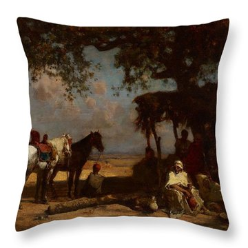 An Arab Encampment Throw Pillow by Gustave Guillaumet