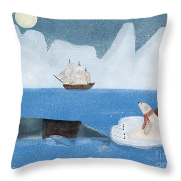 Throw Pillow featuring the painting An Arctic Adventure by Bri B