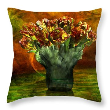 Throw Pillow featuring the digital art An Armful Of Tulips by Johnny Hildingsson