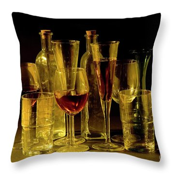 An Assortment Of Full Cocktail And Wine Glasses Throw Pillow