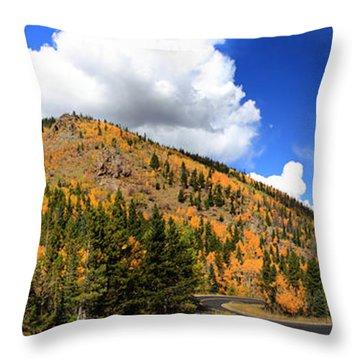 An Autumn Drive - Panorama Throw Pillow