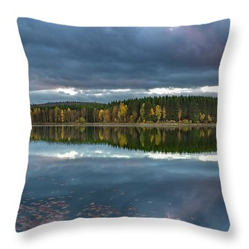 An Autumn Evening At The Lake Throw Pillow