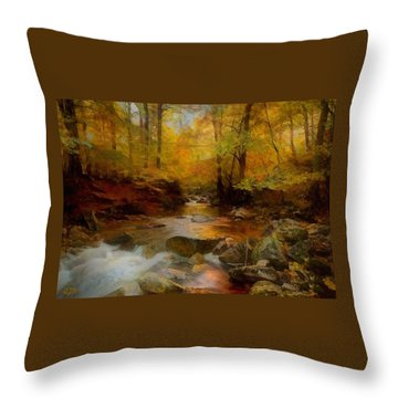 An Autumn Forest Cascading Creek Near Trentviewhurst After The Hudson River School Style L A Throw Pillow