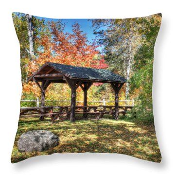 Throw Pillow featuring the photograph An Autumn Picnic In Maine by Shelley Neff
