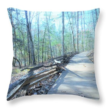 Throw Pillow featuring the photograph An Autumn Walk In The Woods by Kay Gilley