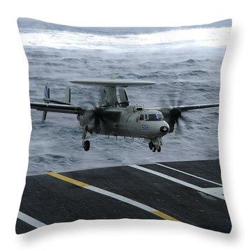 An E-2c Hawkeye Lands Aboard Throw Pillow