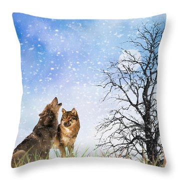 An Early Winter Howl Throw Pillow by Diane Schuster