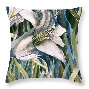 Throw Pillow featuring the painting An Easter Lily by Mindy Newman
