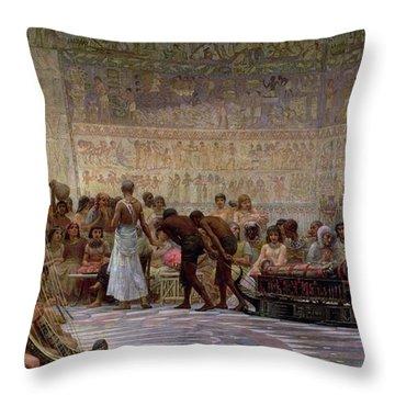 An Egyptian Feast Throw Pillow by Edwin Longsden Long