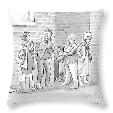 An Elderly Couple Holds Up A Young Couple Throw Pillow